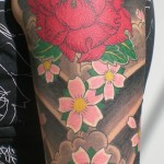 Japanese flowers tattoo