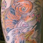 Black & Orange Koi Tattoo