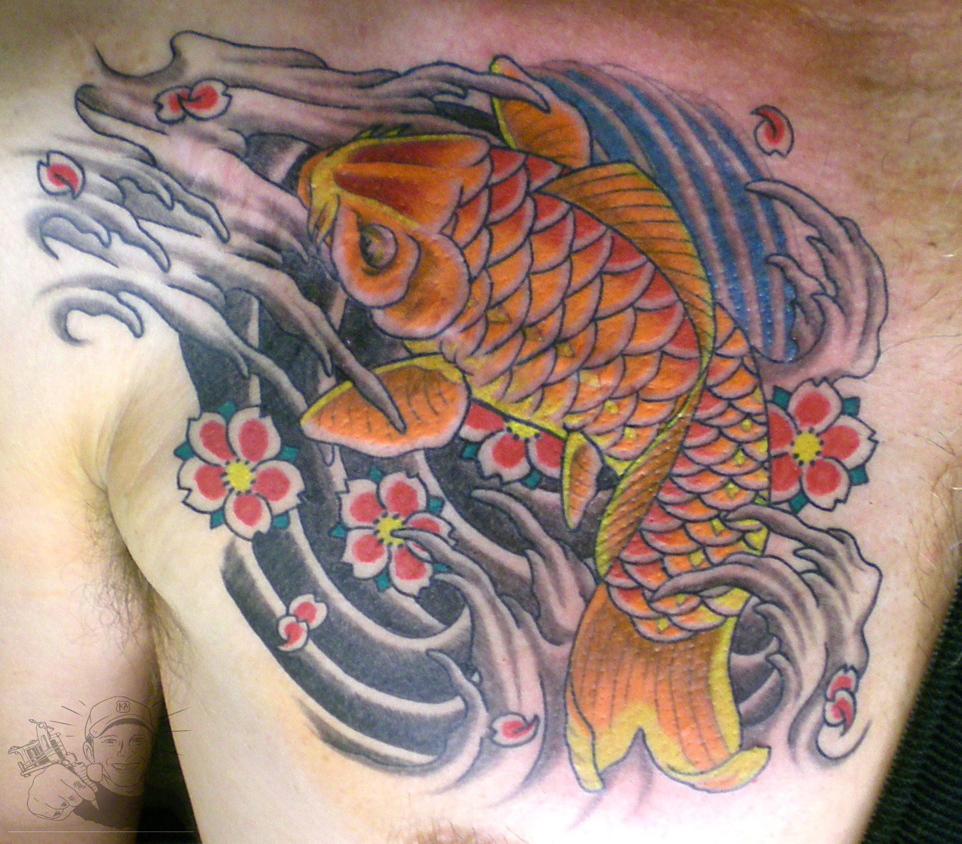 Koi Fish Chest Plate Tattoo Covering Scar