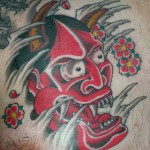 Red Noh Mask Tattoo