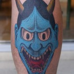 Blue Hanya Mask Tattoo