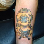 Dive helmet tattoo