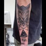Geometric fox and illuminati tattoo