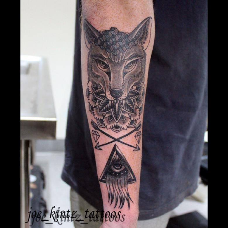 Geometric Fox And Illuminati Tattoo Joe Kintz Tattooing
