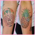Sugar skull and pineapple tattoo