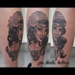 Gypsy girl and skull tattoo