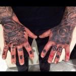 Samurai and illuminati hand tattoos