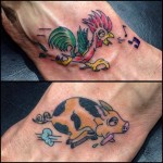 Traditional pig and rooster foot tattoos