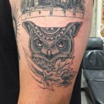 Dot work owl, mandala and leaves tattoo