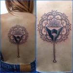 Mandala and dot pattern tattoo