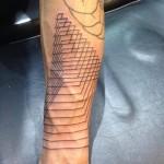 Pyramid of squares linework tattoo
