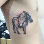 Linework boar tattoo (artwork by Allison Kunath used with permission)