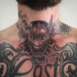 Hanya mask throat tattoo