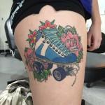 Rollerskate tattoo healed