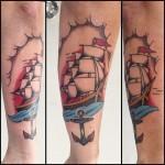 Traditional tall ship tattoo