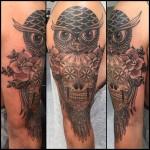 Owl skull and roses tattoo