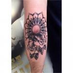 Mandala and roses dot tattoo