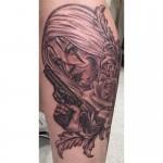 Clown girl portrait tattoo