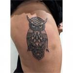Owl mandala dot pattern tattoo