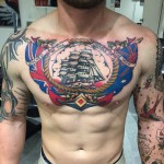 Sailor Jerry chestpiece tattoo