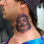 Dali portrait neck tattoo
