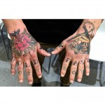 Sailor Jerry hand tattoos