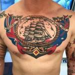 Healed Sailor Jerry chestpiece tattoo