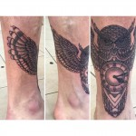 Owl and clock tattoo