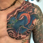 dragon chest plate tattoo