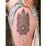 mandala and feather tattoo