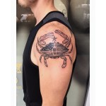 Dot work crab tattoo