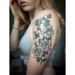Healed dot style flower tattoo