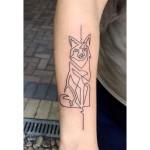 Single line fox tattoo