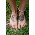 Healed mandala foot tattoos
