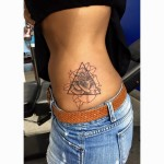 Dotwork rose triangle tattoo