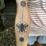 Dotwork bee tattoo