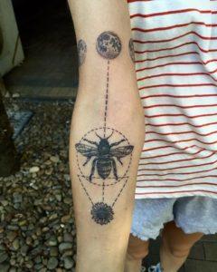 Dotwork bee tattoo