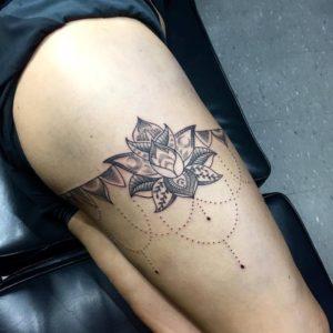 Lotus mandala leg tattoo