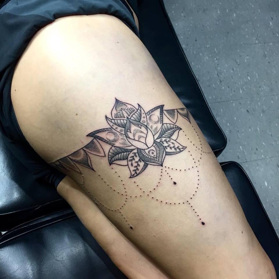 lotus mandala leg tattoo joe kintz tattooing. Black Bedroom Furniture Sets. Home Design Ideas