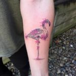 Watercolor flamingo tattoo