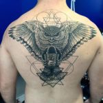 Dotwork owl backpiece tattoo
