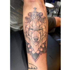 Line work fox tattoo