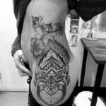 Dotwork hip tattoo