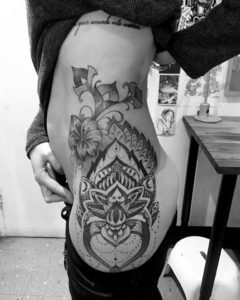 Dotwork hip tattoo
