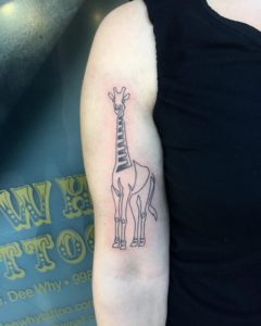 Single line giraffe tattoo