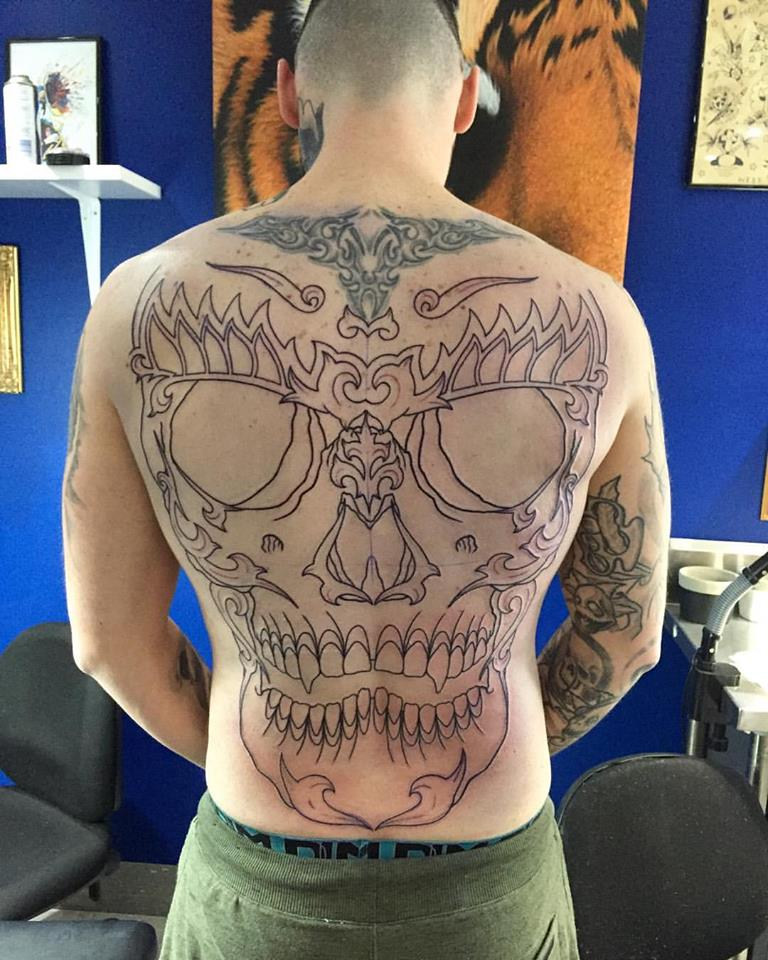 Skull Back Piece: Skull Backpiece Tattoo